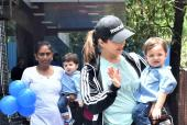 Sunny Leone And Sons, Noah And Asher Twin In Blue As They Head Out