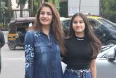 Raveena Tandon and Her Daughter Rasha Twin in Denim as they Step Out for a Lunch Date