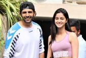 Kartik Aaryan And Ananya Panday Meet Fans Post Dance Class