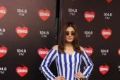 Raveena Tandon stuns in a blue and white striped pantsuit