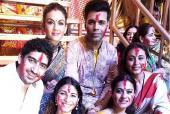 Karan Johar and Kajol play Sindoor Khela during Durga Puja