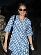 Sonakshi Sinha Spotted At Airport In A Blue Outfit