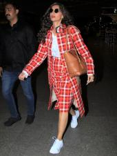Sonam Kapoor Rocks a Red Check Pattern Ensemble For the Airport