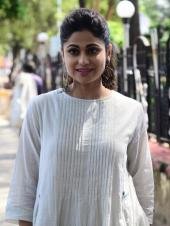 Shamita Shetty goes traditional as she attends special walkathon by Help Age India