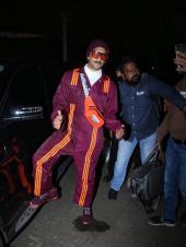 Ranveer Singh Sports Purple Dungaree