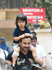 Saif Ali Khan and Taimur Ali Khan Spotted Out and About
