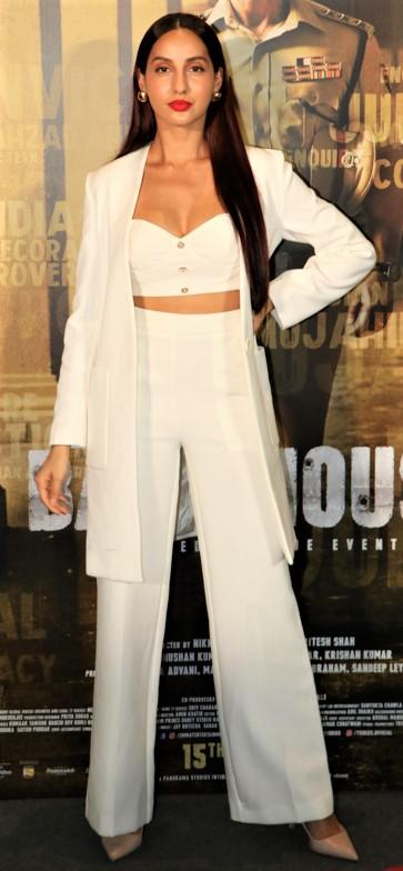 Nora Fatehi rocked her all-white look at the trailer launch of 'Batla House'