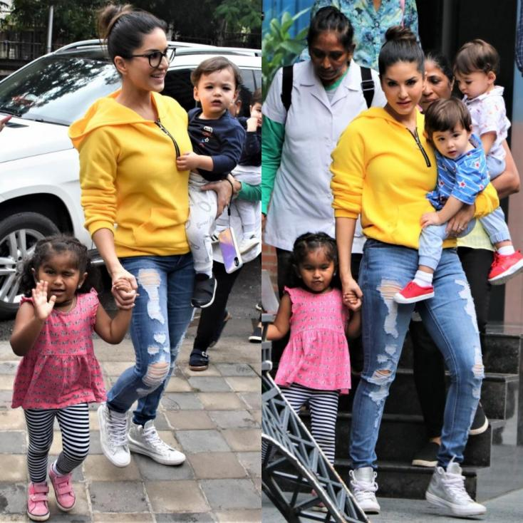 Sunny Leone Serves Major #mommygoals as She Picks Her Kids from Playschool!