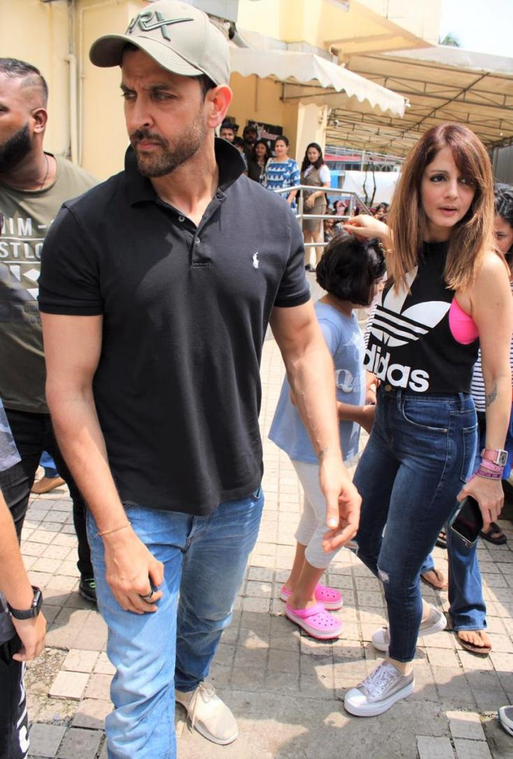 Hrithik Roshan and Sussanne Khan were papped having a day out with their kids Hridhaan and Hrehaan
