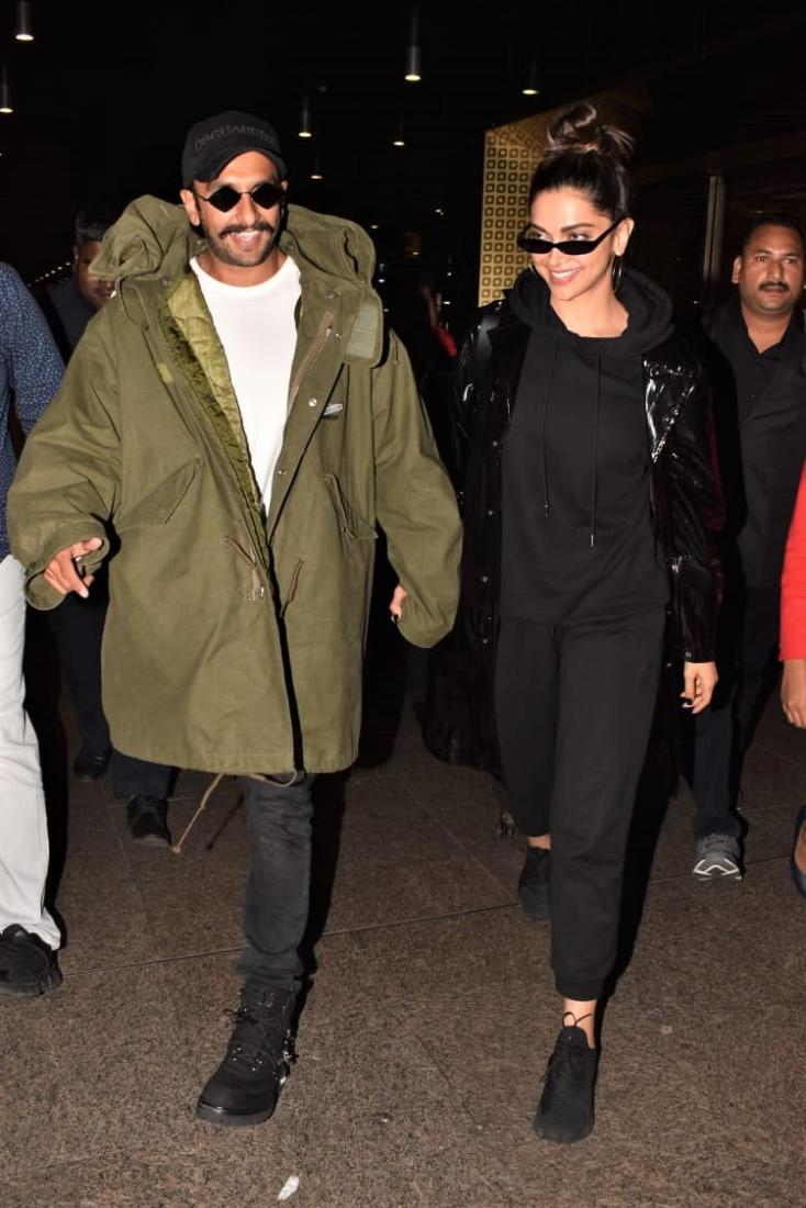 Deepika Padukone and Ranveer Singh both paired their outfits with black sunglasses