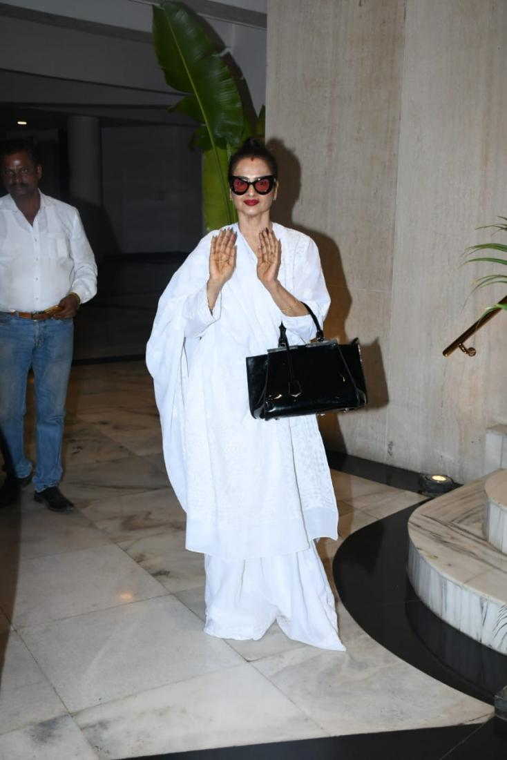 Rekha was spotted at Manish Malhotra's residence.