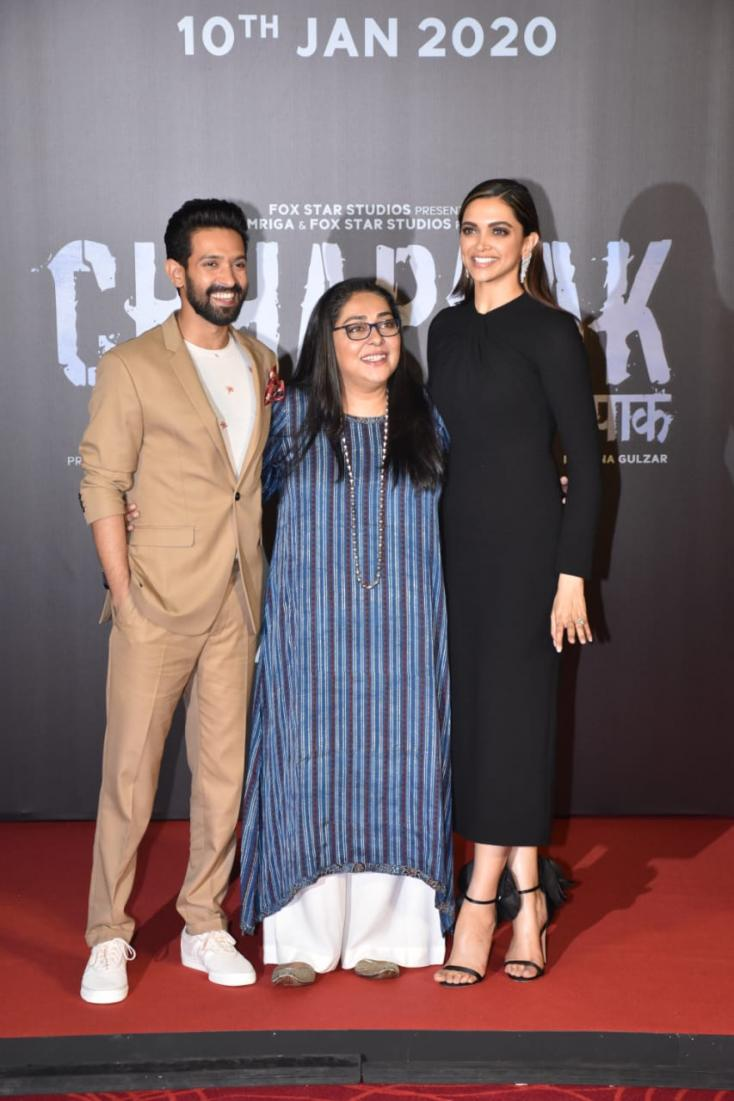 The cast and director of Chhapaak are all smiles for the cameras at the trailer launch of the film