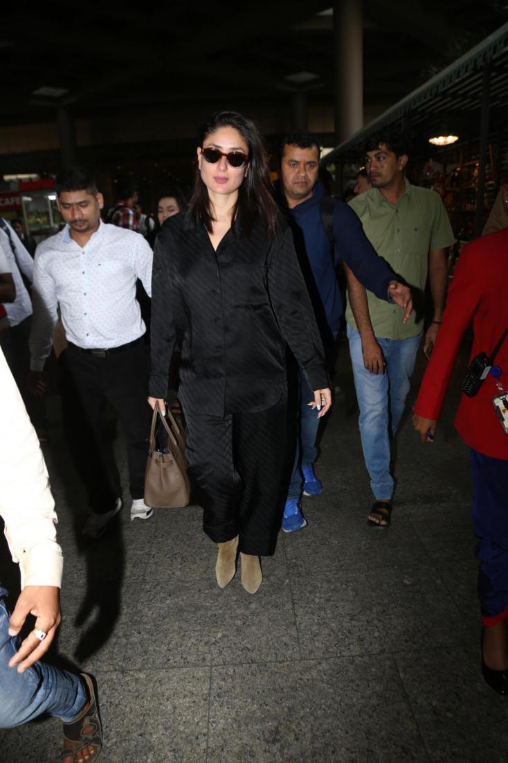 Kareena Kapoor looked her stylish self in a black two-piece as she made her way to the airport