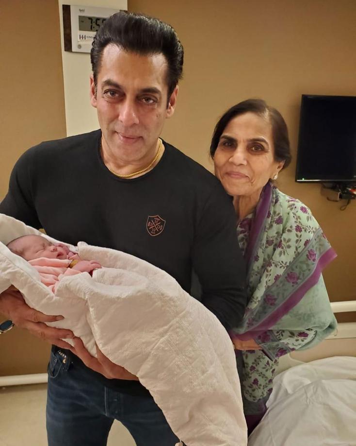 Salman Khan Poses with New-Born Niece, Ayat and mum Salma Khan