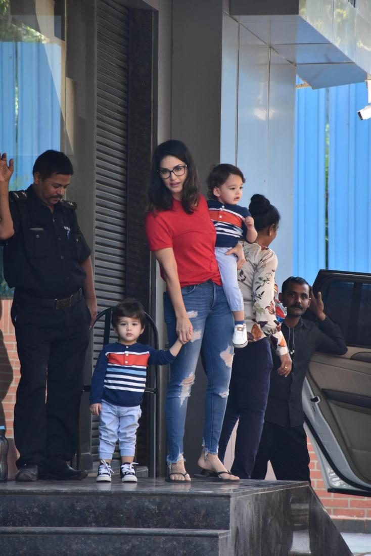 Sunny Leone was spotted with her twins Ashar and Noah