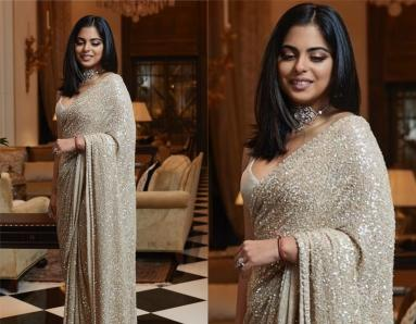 Isha Ambani Piramal Exudes Her Sophisticated Charm in a Sequined Sari