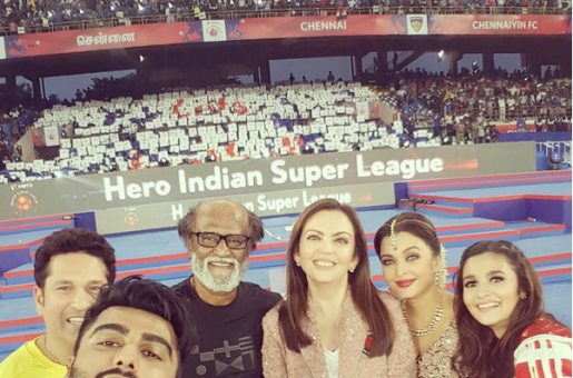 Superstars Aishwarya Rai, Rajnikanth, Alia Bhatt, Sachin Tendulkar, Arjun Kapoor Alight on the Football Pitch for a Selfie!