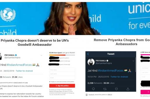 Petitions Against Priyanka Chopra Ask To Remove Her As UNICEF Goodwill Ambassador