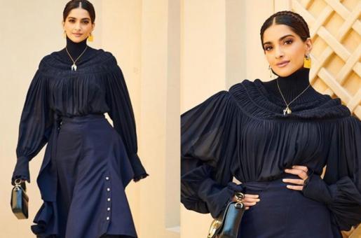Sonam Kapoor Opts For Slick Black Look In Dubai