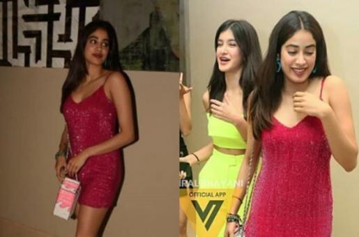 Janhvi Kapoor is Party Ready in Shimmering Pink Dress