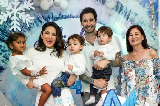 Sunny Leone Out and About With Sons Asher and Noah Singh Weber