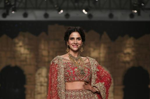 Saba Qamar Graces the Ramp in a Traditional Lehenga Choli by Samsara
