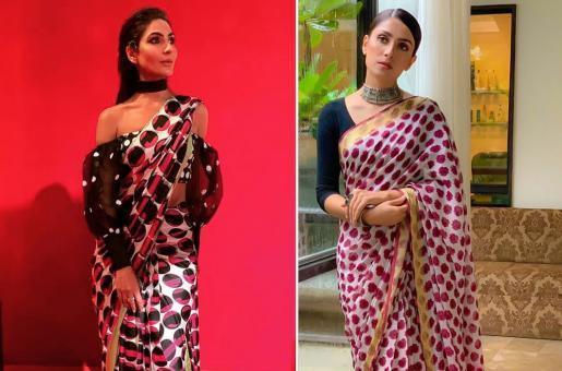 Ayeza Khan, Kiran Malik Fashion Face-Off: Stars Make Bold Statement in Polka-Dotted Saris