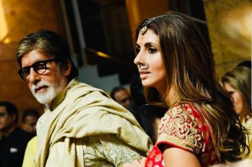 Shweta Bachchan and Amitabh Bachchan Share a Special Moment at Armaan Jain's Wedding