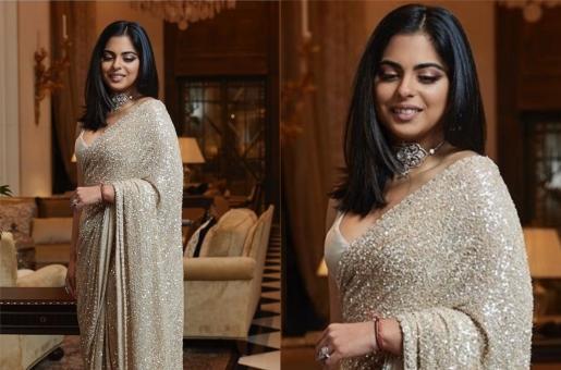 Isha Ambani Piramal Exudes Her Sophisticated Charm in a Sequined Sari