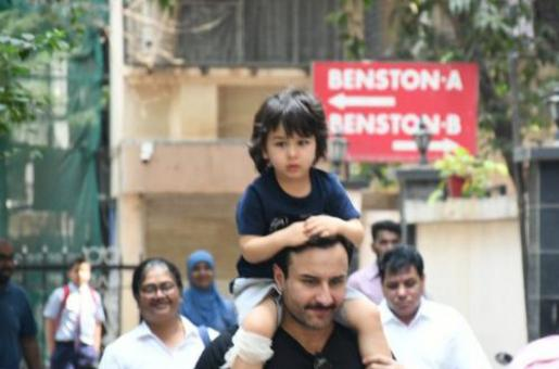 Taimur Ali Khan Spotted on Saif Ali Khan's Shoulder with Injured Leg