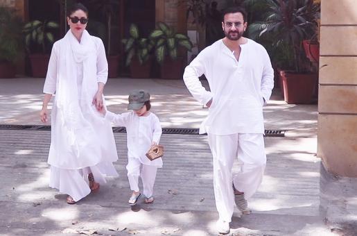 Watch: Saif Ali Khan, Kareena Kapoor and Taimur Step out in White To Celebrate Holi