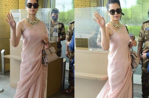 Kangana Ranaut dons a pastel pink saree for her airport look