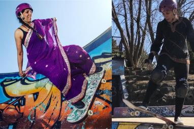 WATCH: The internet can't get enough of this viral saree-wearing skateboarding aunty!