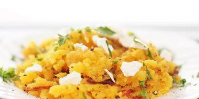 Mashed Sweet Potatoes with Crumbled Feta